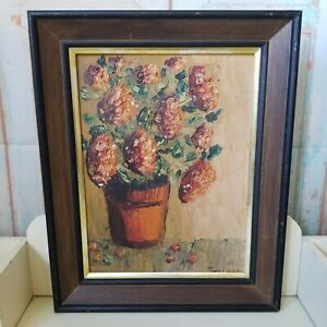 Vintage Floral Still Life Painting Oil On Board Framed  Thick Textured Flowers
