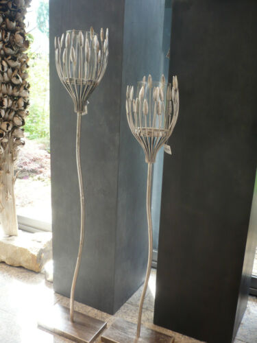 "Casablanca Design Leuchter /""Trevi/"" Met.ant.silb.//Glas Kerzenhalter H 93 cm 74154"