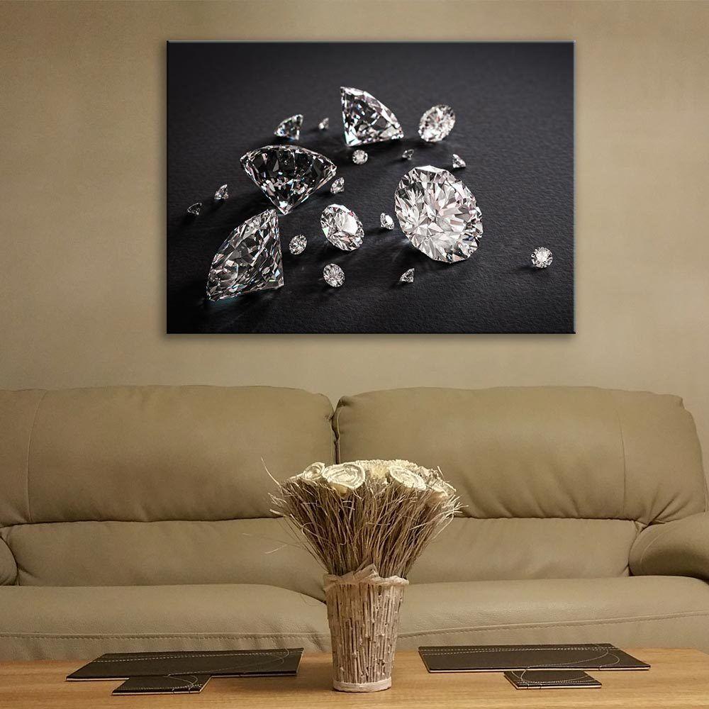 Wall Art Glass Print Picture Painting Unique Gift Diamonds Home Decor cm 100x70