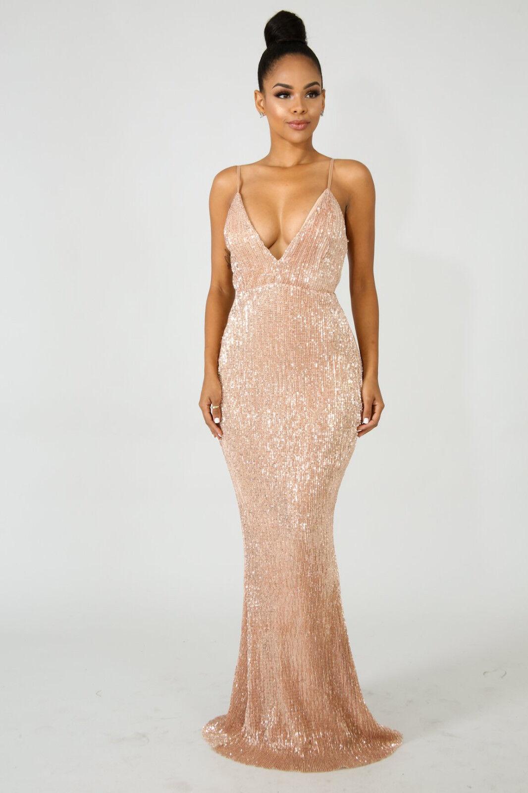 damen Rosa Gold Sequins V-Neck Cocktail Maxi Gown Dress