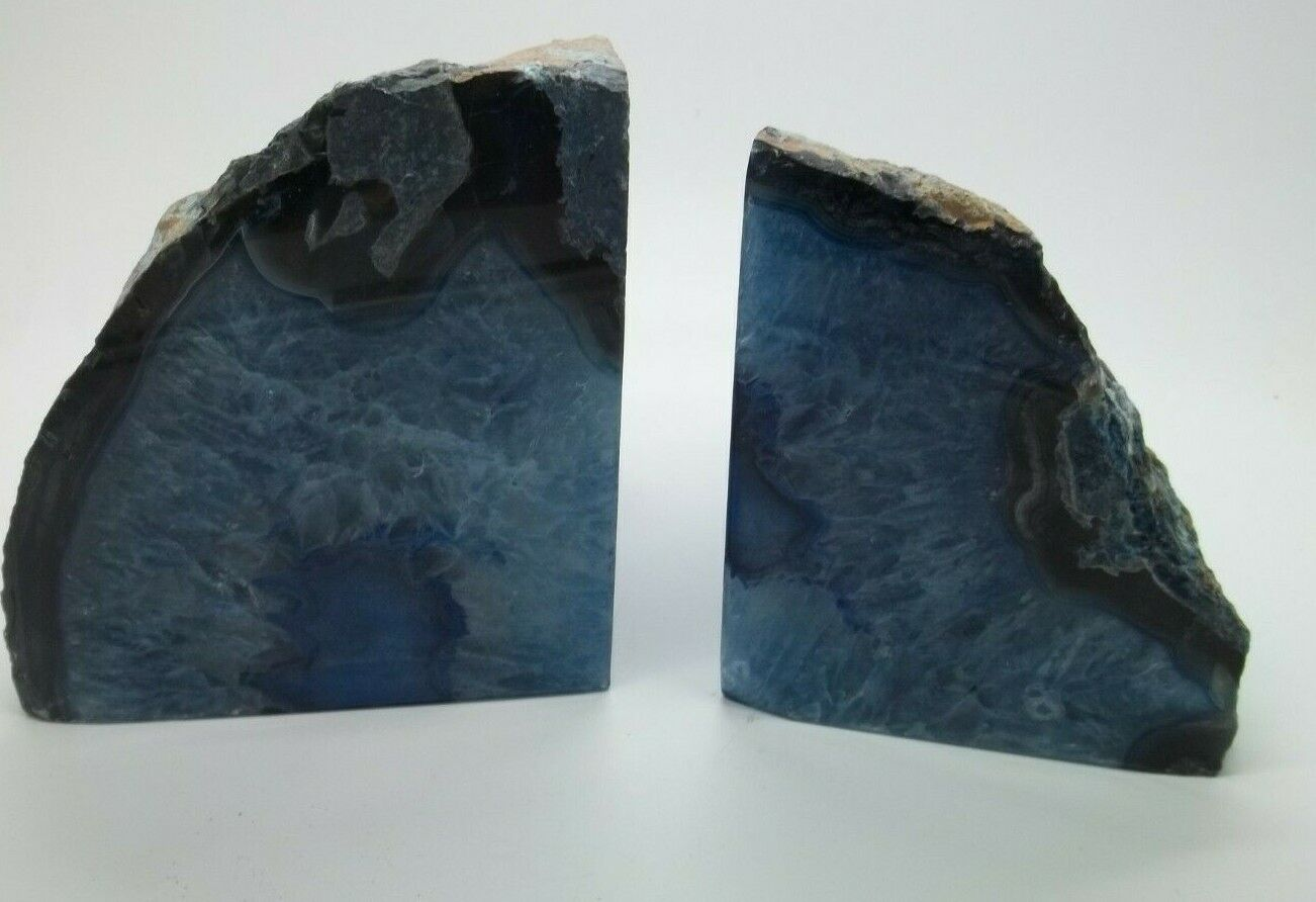 Pottery Barn Geode Bookends Weight 6-7 Pounds Cool bluee Set of 2