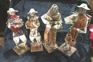 Lot-of-4-Vtg-Paper-Mache-Mexican-Folk-Art-Figures