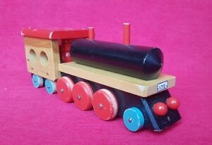 Train Voiture Locomotive Jouet Bois En Détails À Tirer Wagons Vintage Ancien Sur 1960 qLAR3j54