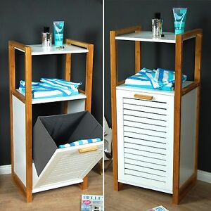 badregal badschrank mit w schetruhe w schekorb bad schrank kommode regal bambus ebay. Black Bedroom Furniture Sets. Home Design Ideas