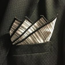 Pocket Square Italian Linen Handmade Stripped With Black Borders By Squaretrapny