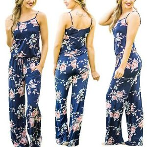 e02e225cba40 Image is loading Women-Summer-Sleeveless-Casual-Cotton-Jumpsuit-Rompers -Floral-