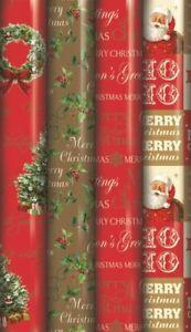 4 x 5 m Rouleaux traditionnels Script Couronne Noël Colis Papier Cadeau 23604