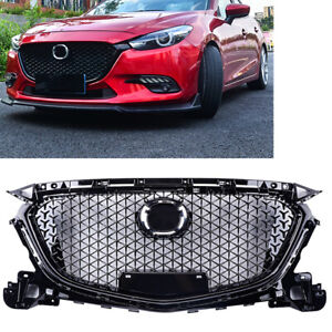 For-Mazda-3-Axela-2017-2018-ABS-Plastic-Front-Bumper-Grill-Upper-Grille-Black-MA