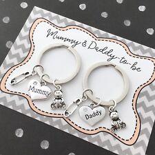 Mum Dad to be pregnancy charm baby shower adjustable bracelet gift
