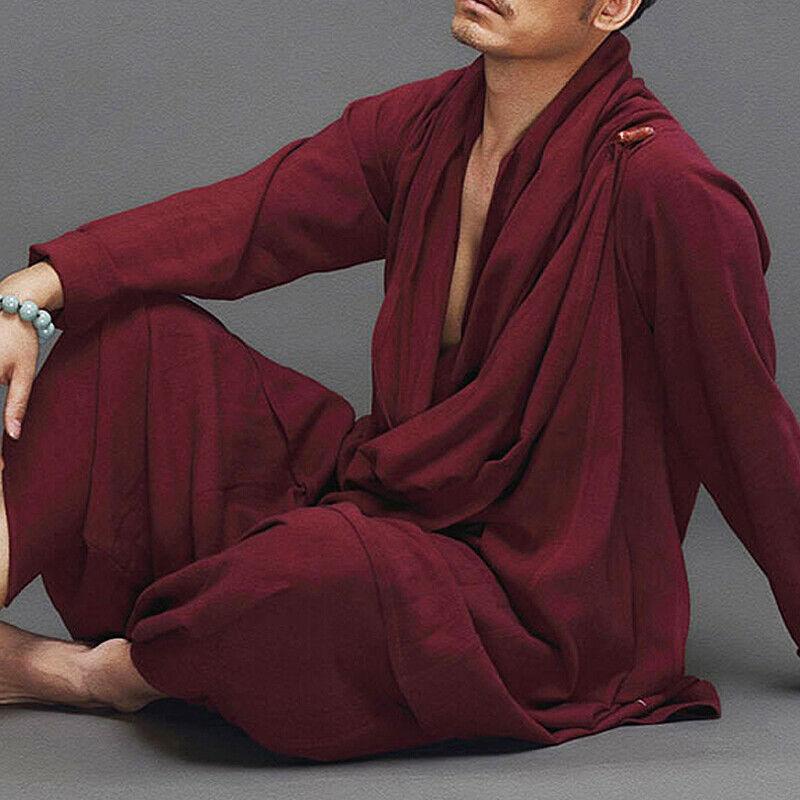 2Pcs Mens Linen Cotton Martial Arts Ancient Style Zen Loose Coat & Pants Bt15