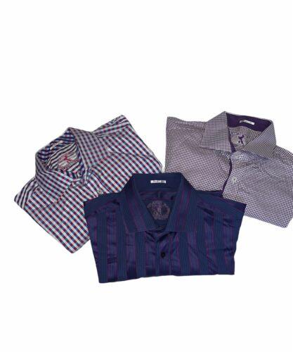 Bugatchi Mens Lot Of Three Purple Button Down Dres