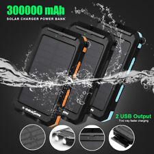300000mAh Cigarette Waterproof Solar Charger 2USB External Battery Power Bank AU