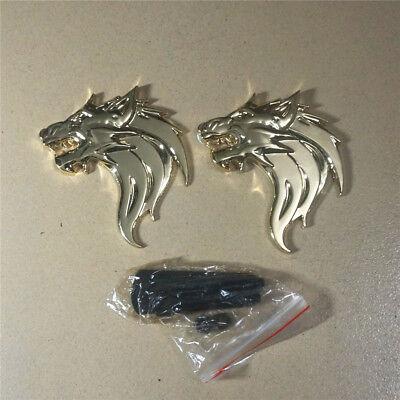 Golden Metal Pair Wolf Head Grille Emblem Pair Sticker Badge Decal 3D Logo Car