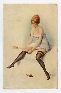 A-CHARLET-Erotique-Grivois-Femme-en-lingerie-Risque-Erotic-Underwear