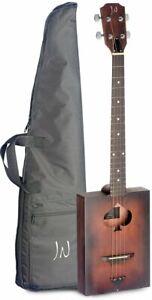 JN Guitars Firkin 4 String Acoustic Cigar Box Guitar w/ Gig Bag - Cask Burst