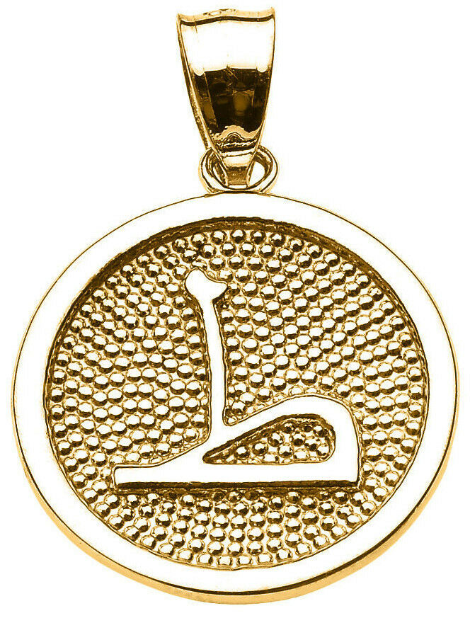 14k Yellow gold Arabic Letter   taa   T Initial Charm Pendant