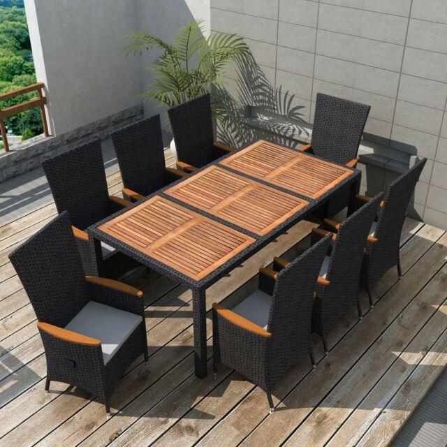 Vidaxl 17pc Wicker Rattan Outdoor Dining Set Garden Table Chairs