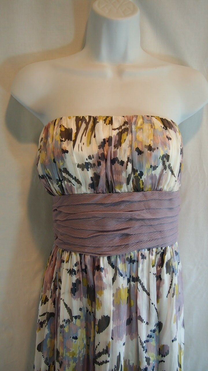 BCBG Women's Dress Floral Size 10 Formal Bridesmaid Pastel SIlk Bridal Womens
