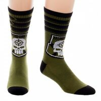 Suicide Squad Taskforce 1 Pair Men's Crew Socks Dc Comics Universe Skull Green