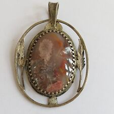 VTG Sterling Silver Pendant Pink Moss Agate Organic Leaf Navajo ? Tom Ronal ?