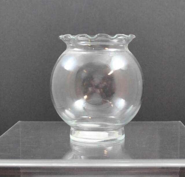 Vintage Clear Indiana Glass Vase Ivy Bud Flower Ruffled Top Design 5
