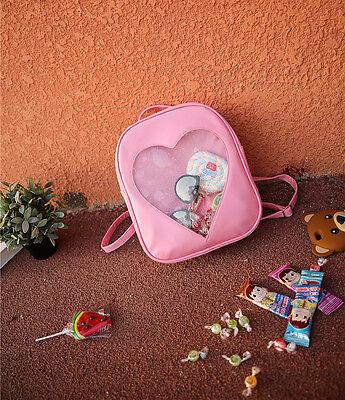 Kawaii Candy Transparent Love Heart Shape PU Womens Girls School bag backpack