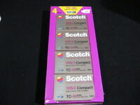 4 Pack Of Tc-30 Vhc-s Scotch Extra High Grade Compact Video Cassettes