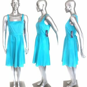 New Chaps Baja Dress Turquoise Blue Square Neck Sleeveless
