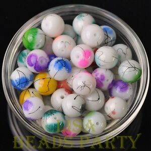 New-20pcs-10mm-Round-Loose-Spacer-Glass-Beads-Jewelry-Making-Mixed-Color