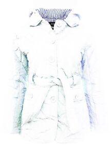 Size 18 20 Ladies White Jacket Quilted Coat Parka Buttons Belt Hood Parker