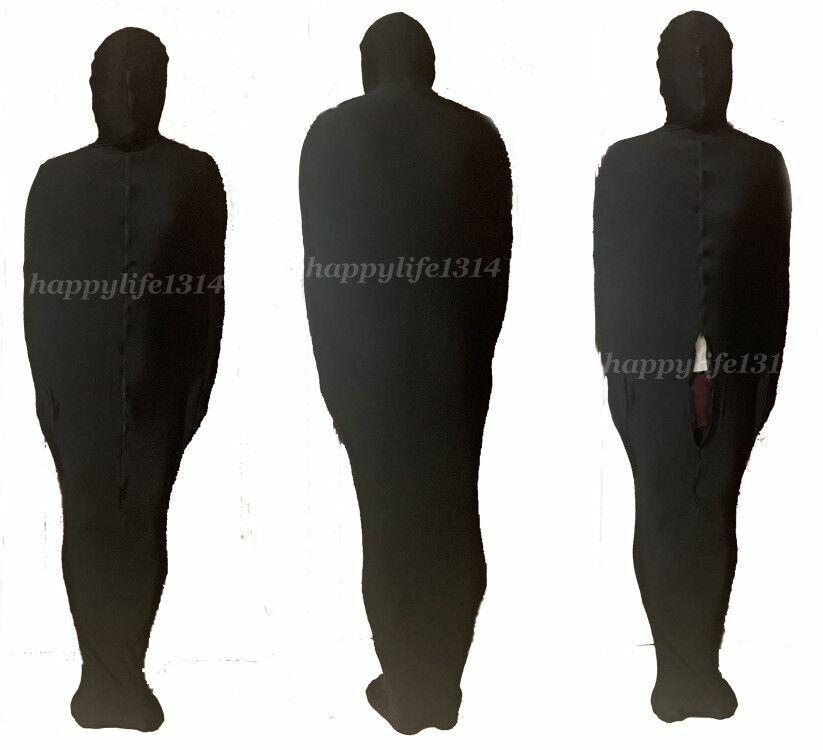 Black Unisex Mummy Suit Zentai Costumes Sleeping Bag With internal Sleeves