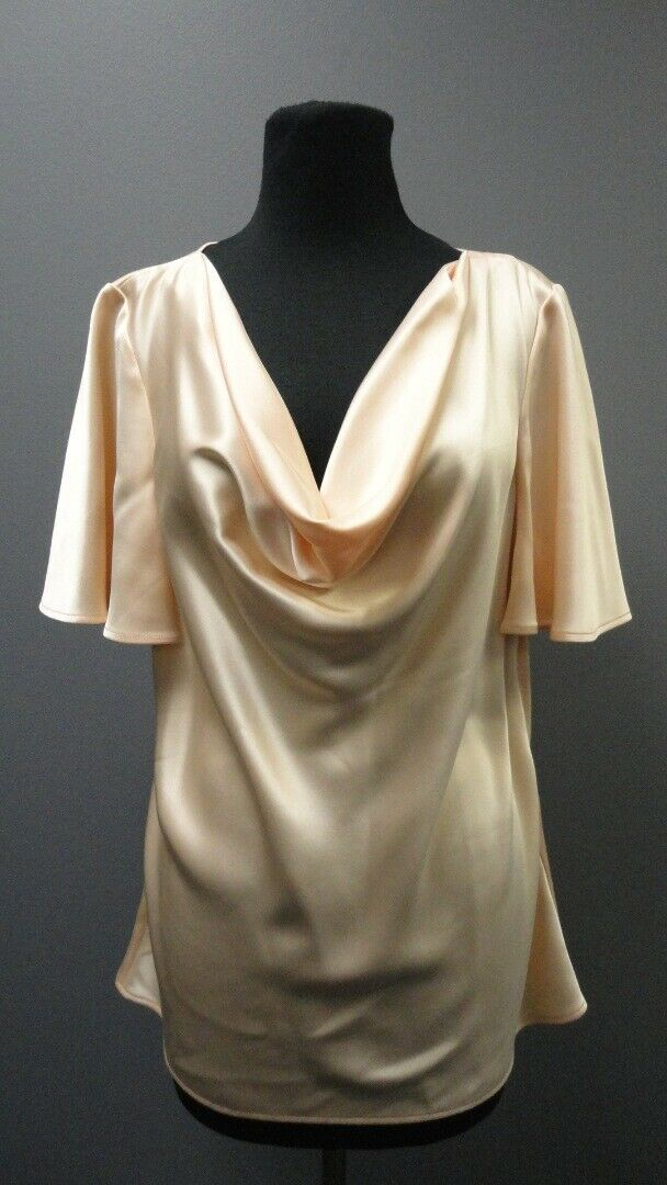ST. JOHN COUTURE Sorbet Scoop Neck Short Sleeves Solid Blouse NWT Sz 12 GG3763
