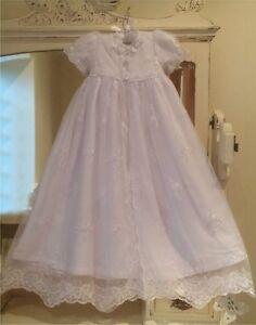 Nouveau-Long-Longueur-Filles-Blanc-Bapteme-Robe-Dress-Free-box-3-6-9-12-15-18-mois