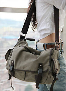 Image Is Loading Vintage Canvas Messenger Bag Book Laptop Shoulder