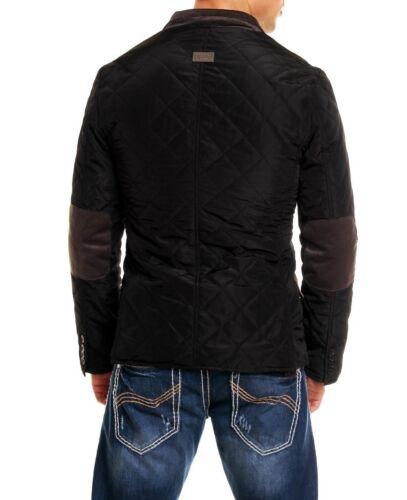 Giacca Blazer Moda per Uomo Nero Elegante Trapuntato Avvitato Cappotto Monopetto