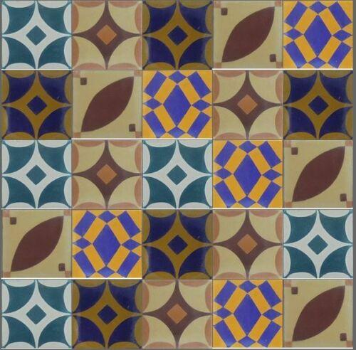 25 Stück dünne Zementfliesen 12mm Wandfliesen 10x10x1,2cm Patchwork 0,25m²