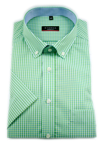 grün ETERNA Herren Kurzarm Hemd Modern Fit BD blau orange Kariert 3057.C143
