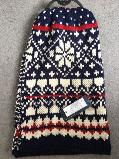 M&S THICK BLUE/WHITE & RED SCARF WITH CENTRE PLAIN NAVY & REST PATTERNED -BNWT