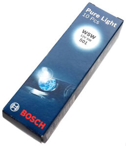BOSCH-Natural-Luz-W5W-12v-5w-501-1987302206-8ds-W2-1x9-5d-Bombilla-10-piezas