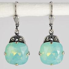 Ohrring Hänger Silber Altsilber Swarovski Kristall Rund Pacific Opal türkis blau
