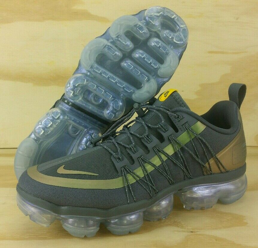 Nike Air VaporMax Run Utility Dark Grey yellow AQ8810-008 Mens Size 8 WMNS 9.5