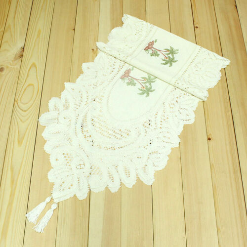 """71/""""x13/"""" Palm Tree Embroidered Lace Table Runner Cloth Wedding Party Decoration"""