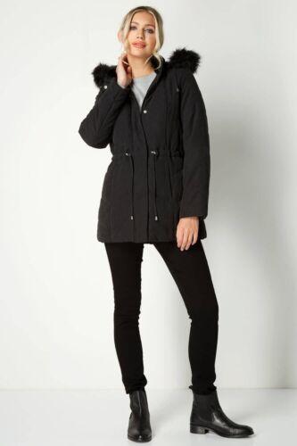 de Abrigo negra sintᄄᆭtica adornos de piel microfibra Parka de negro con microfibra p48Tq4w