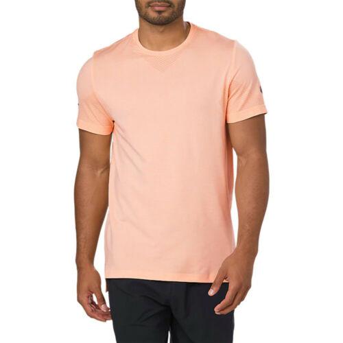 Asics Mens Seamless Running T Shirt Tee Top Orange Sports Breathable Lightweight