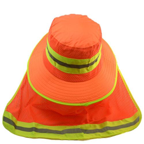 Hi Vis Reflective Safety Work Neck Flap Boonie Orange Hats Ventiation Bucket Cap