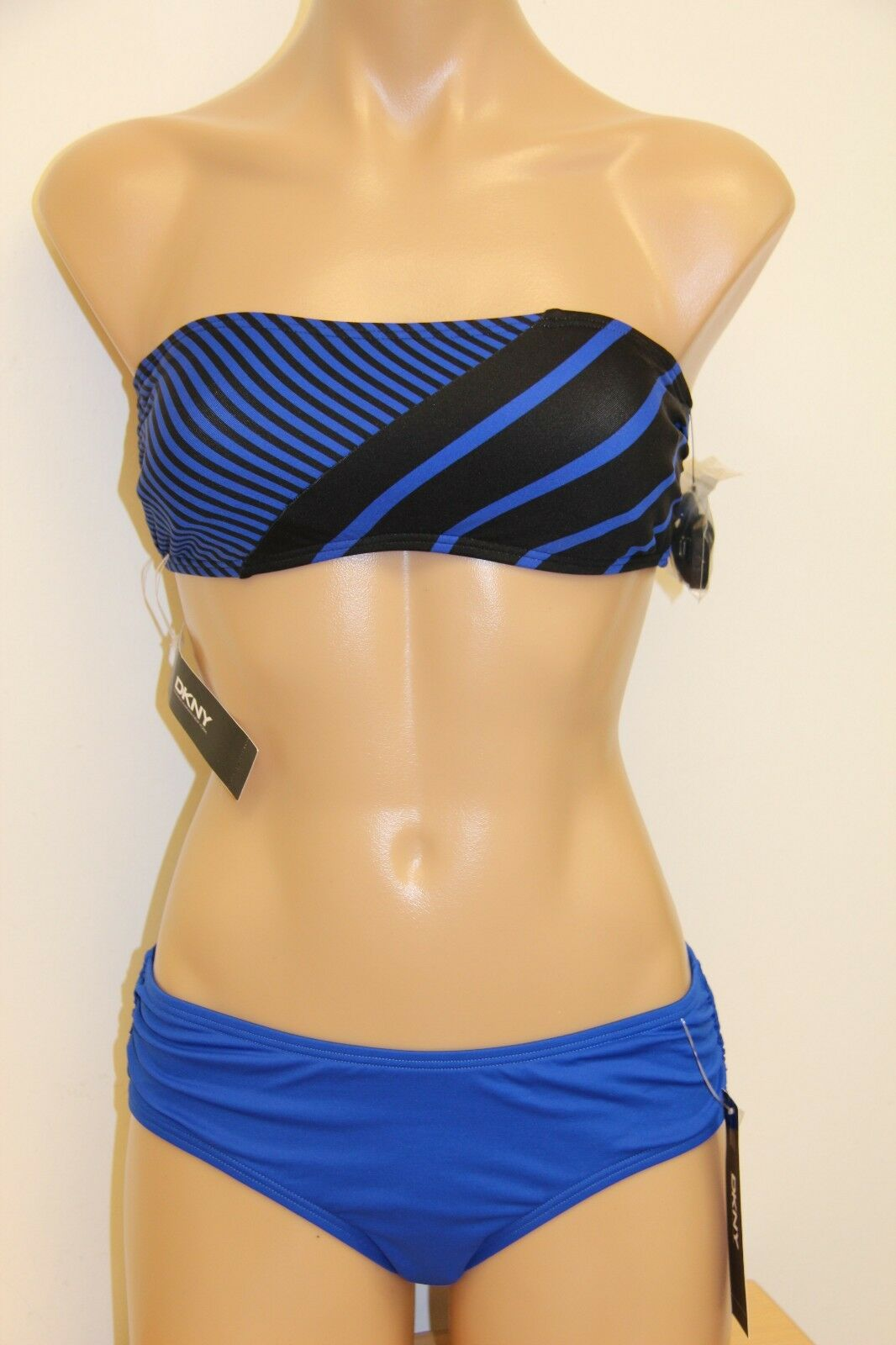 NWT DKNY women Karan Swimsuit Bikini 2pc Set size XS P Classic Electric bluee