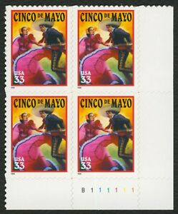 #3309 33c Cinco De Mayo, Placa Bloque [B111111 LR ], Nuevo Cualquier 4=