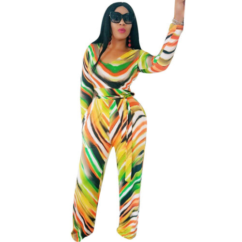 Fashion Women Long Sleeve Print Wide Leg Belt Jumpsuit Romper Clubwear Casual