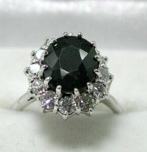 Vintage Beautiful 18 carat White Gold Large Sapphire And Diamond Cluster Ring
