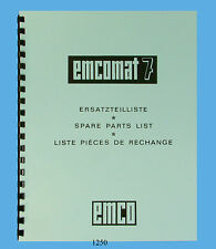 Emco Emcomat 7 Lathe  Service Parts List Manual *1250